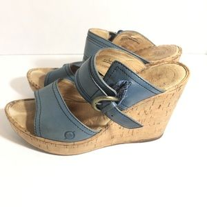 Born Cork Wedge Platform Buckle Sandals Blue